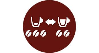 Selecteer uw gewenste sterkte: kleine kop sterke koffie of grote kop milde koffie