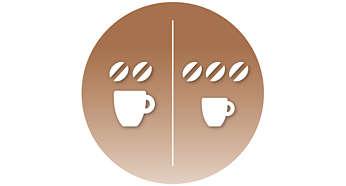 Sélectionnez l'intensité: café court et serré ou long et doux