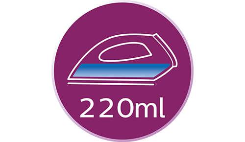 Large réservoir d'eau de 220ml à remplissage pratique