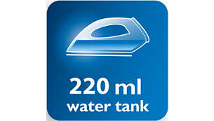 Large water tank 220ml and convenient water filling