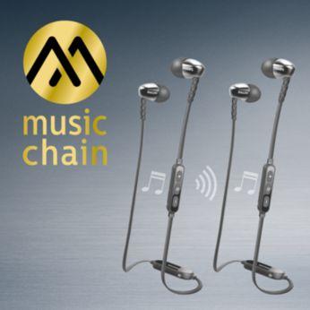 MusicChain™ permite compartir música fácilmente con un amigo