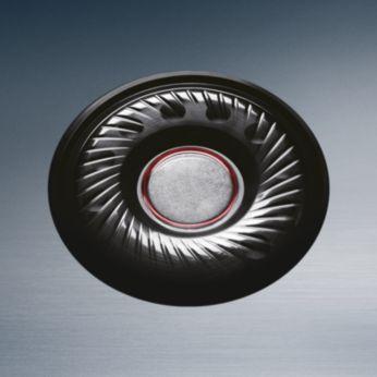 32 mm didelio intensyvumo garsiakalbiai galingiems ir aiškiai skambantiems žemiesiems dažniams išgauti