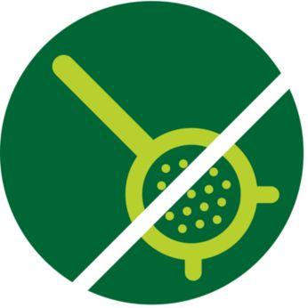 Design senza setaccio esclusivo per la pulizia in meno di1 minuto