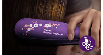 Keratin ceramic plates for smooth gliding and shiny hair