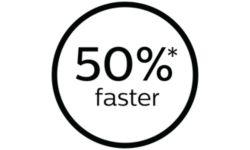 На 50 % быстрее для сокращения времени обработки