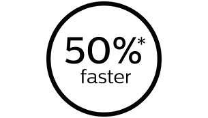 50% plus rapide, pour des séances plus courtes*