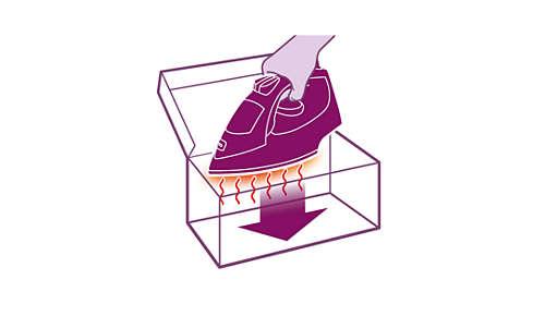 Boîte de rangement thermo-résistante pour ranger le fer immédiatement après le repassage