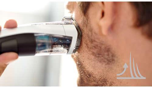 Tilt de haren op voor moeiteloos, gelijkmatig trimmen