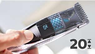 20 rögzíthető hosszúságbeállítás, 0,5 és 10 mm között, 0,5 mm-es pontossággal