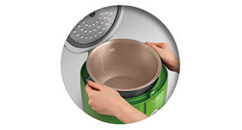 Easy to remove inner pot thanks to stay cool handles