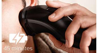 45 perc vezeték nélküli borotválkozás nyolc óra töltés után