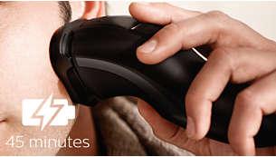 45minutter barbering uten ledning etter åttetimer med lading