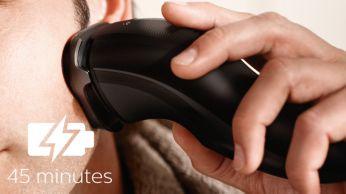45 minūšu skūšanās laiks bez vada pēc astoņu stundu uzlādes