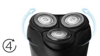 Головки движутся в 4направлениях для быстрого и чистого бритья