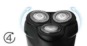 Głowice poruszają się w 4 kierunkach, co ułatwia dokładne golenie