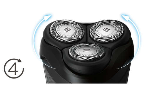 Le testine si flettono in 4 direzioni per radere facilmente ogni curva del viso
