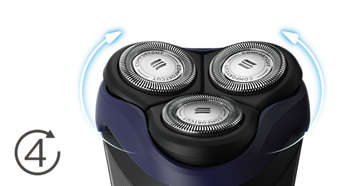 Heads flex in 4 directions to easily shave every curve