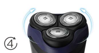 Têtes flexibles dans 4directions pour un rasage facile des courbes de votre visage