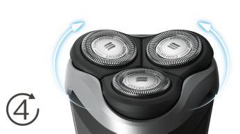 Главите се накланят в 4 посоки, за да бръснат с лекота всяка извивка