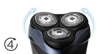 Cabezales Flex de 4 direcciones para afeitar fácilmente todos los contornos