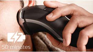 50 minutter med trådløs barbering etter én times lading
