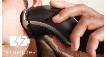 50 минути безкабелно бръснене след 1 час зареждане