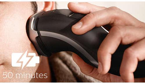 50 perc vezeték nélküli borotválkozás egy óra töltés után