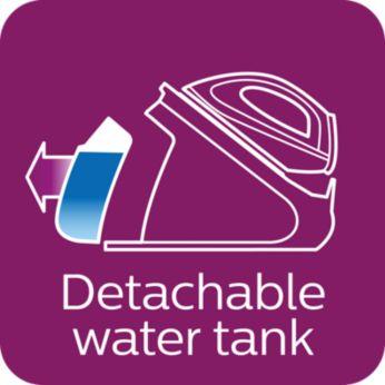 Bardzo duży, odłączany zbiornik wody o pojemności 2,2l — idealny do prasowania dużej ilości ubrań