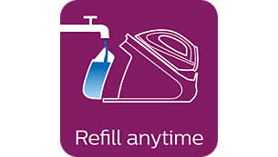 Refill with tap water at any time