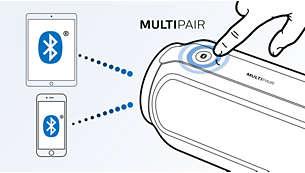 Basculez instantanément entre la musique de 2appareils différents grâce à la fonction MULTIPAIR