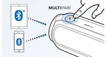 Byt musik direkt mellan två enheter med MULTIPAIR