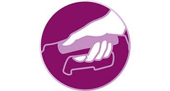 Fácil de segurar para manuseamento prático durante o engomar