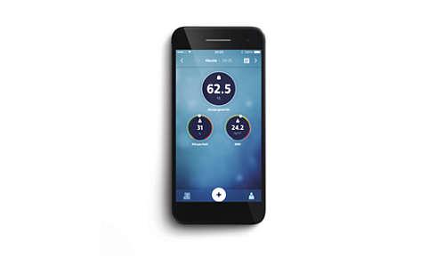 BMI und Körperfettanteil werden in der Philips health app angezeigt