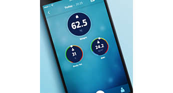 BMI and body fat percentage shown in the Philips health app