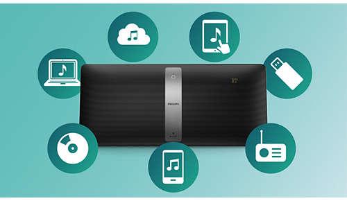 Stream al uw muziekbronnen zoals CD, FM of USB via izzylink™