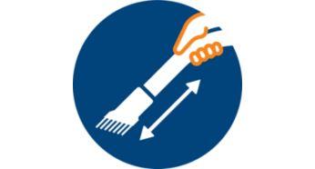 Мягкая щетка, встроенная в ручку, всегда готова к использованию