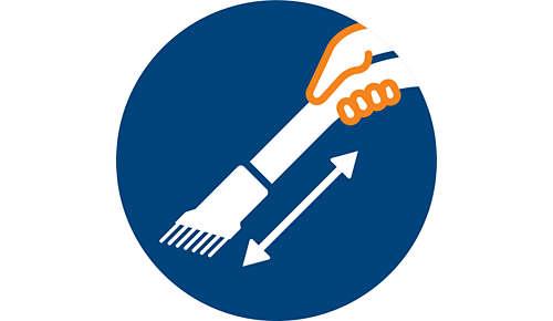 Brosse douce intégrée au manche, toujours à portée de main