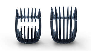 Includes 2 combs for short & long hair (0,4-13mm)