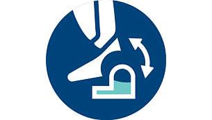 Nasazením nebo odejmutím stíracího systému můžete zahájit mokré čištění bez čekání