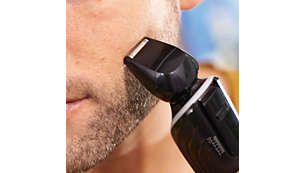 Shave small areas on your cheeks and chin with precision
