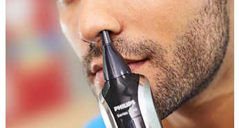 Pour couper rapidement et en douceur les poils indésirables du nez et des oreilles