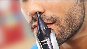 Pour tondre rapidement et en douceur les poils de nez et d'oreille