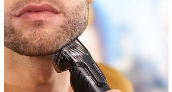 18hauteurs réglables (1-18mm) pour une barbe uniforme ou une barbe de 3jours impeccable