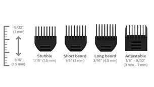 3 fixed beard combs and one adjustable beard comb