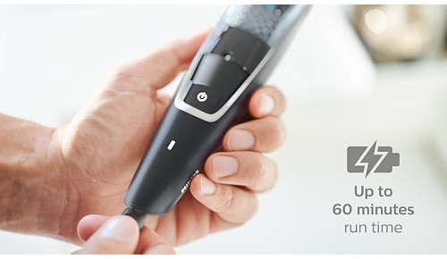 Tunnin latauksella 60 minuuttia johdotonta käyttöä tai käyttö verkkovirralla
