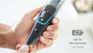 60 minutes cordless use or plug in