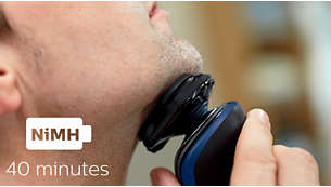 40 minutes of cordless shaving after a one-hour charge