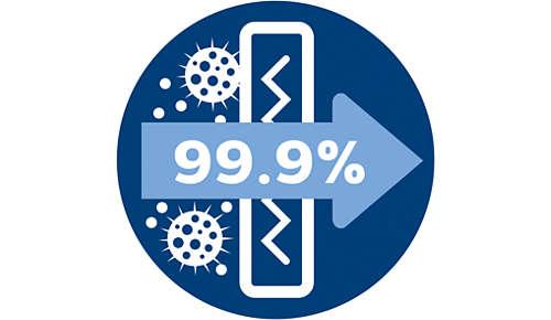 Protialergický filtr zachytí více než 99,90% jemného prachu