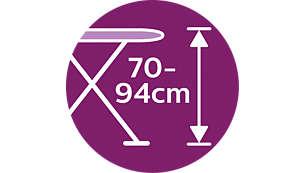 Comfortabel strijken: instelbare hoogte (70 - 94 cm)