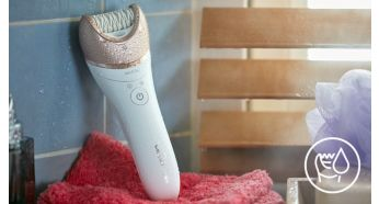 Wet & dry for use in bath or shower - Philips Satinelle Prestige Wet & Dry Epilator + Pedi